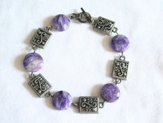 Striated Deep Purple Semi-Precious Gemstone by BrickRoadBeading