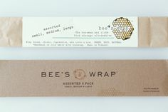 """Bees Wrap,  is another great example of a sustainable product and its packaging. Created by Sarah Kaeck, and packaged by Stitch Design Co., """"it is the new natural alternative to plastic wrap. You seal it with the warmth of your hands. Made with beeswax and cloth, with a packing system that was sustainable. They were also was looking to simplify Each available size was printed converted chipboard pouch using a color coding combination of two inks."""" / branding / identity / logo / eco-friendly"""