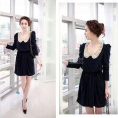 Fashion Women's Casual Slim Fit Long Sleeve Dress    $10.82 blue w/collar Asian L /US M