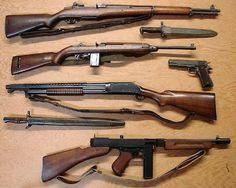 Garand - Carbine cal - Winchester 1897 Trench Gun -Thompson Sub Machine gun Colt 1911 Rifles, Ww2 Weapons, Fire Powers, Cool Guns, Military Weapons, Airsoft Guns, Guns And Ammo, 2 Guns, Bushcraft