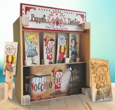 Unique wooden puppet theaters from Aquarella! Wooden Puppet, Pinocchio, Puppets, Toy Chest, Storage Chest, Toys, Frame, Home Decor, Activity Toys