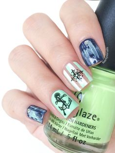 bornprettystore, anchor nail decals, anchor water decals, bornprettystore water decals, bornpretty water decals, china glaze highlight of my summer, essie no more film