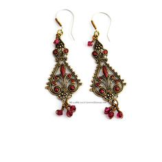 Going To The Bazaar Earrings in ruby red #madscientistsdesigns #theartisangroup #etsy