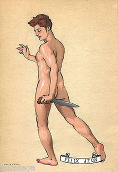 Young-Warrior-Original-Drawing-Felix-dEon-Gay-Art-Male-Nude-Erotic-Gay-Art