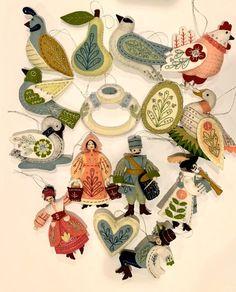 Christmas Ornament Crafts, Handmade Christmas, Christmas Tree Ornaments, Christmas Decorations, Days Of Christmas Song, Twelve Days Of Christmas, Felt Ornaments Patterns, Christmas Illustration, Vintage Christmas Cards
