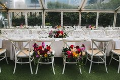 Bride + Groom's gorgeous decorated reception chairs; Fox & Rabbit