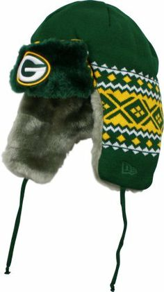 NFL Green Bay Packers Team Trapper Knit Cap by New Era. $24.95. 100% Polyester. 100% Acrylic. 100% Polyester. This New Era NFL Fall 2012 Collection Team Trapper Knit Cap features an embroidered Green Bay Packers team logo at front, a stitched New Era flag at wearer's left side and the NFL Shield embroidered on the back.