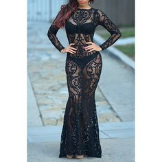 Sexy Jewel Neck Long Sleeve See-Through Maxi Dress For Women