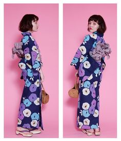 浴衣 帯 桐下駄 注染 本染め 青紫のレトロ椿 01-14-06-007のモデル着用画像です。