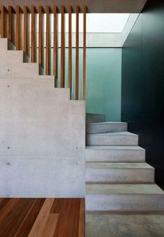 Beautiful concrete and wood stairs. Really like these stairs Concrete Stairs, Wood Stairs, House Stairs, Concrete Wood, Garden Stairs, Design Exterior, Interior And Exterior, Interior Stairs, Interior Architecture