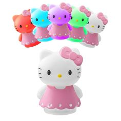Super cute, energy efficient LED mood lamp changes 5 different colors! Let Hello Kitty relax you with a single color or rotate through all 5.