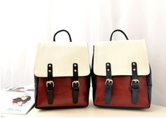 Preppy Style Women's Satchel With Rivets Buckle and Color Block Design (BLUE) | Sammydress.com