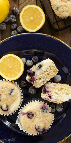 These Blueberry Lemon Muffins with Cream Cheese Swirl are a little sweet, a little tangy and perfect for breakfast or snack! Easy to make ahead and freezer friendly. Includes step by step recipe video. | lemon recipe | lemon bread | berries | yogurt muffins | breakfast | brunch | cream cheese muffins