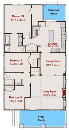 Efficient Bungalow with Spacious Living Room - floor plan - Main Level Rectangle House Plans, Micro House Plans, Small House Floor Plans, Family House Plans, New House Plans, Dream House Plans, Bungalow Floor Plans, Bungalow House Design, Small House Design