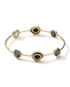 Y32DR Ippolita 18k Rock Candy Ondine Black Shell i Onyx Doublet Bangle