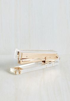 Flawless Office Stapler. From your project reports to the office supplies that are used to send them off in style, your desk is impeccable. #gold #modcloth