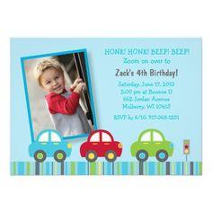 Car Transportation Birthday Invitations