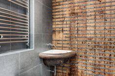 Modern Rustic Bathroom, Converted Stables in Winchester, England Minimalist Bathroom Design, Modern Bathroom, Bathroom Wall, Rustic Style, Modern Rustic, Wall Design, House Design, Bathroom Styling, Brick Wall