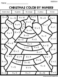 Color by Number Addition (Christmas) Christmas Worksheets, Kids Math Worksheets, Christmas Math, Christmas Ideas, 4th Grade Classroom, 1st Grade Math, Second Grade, Math Addition, Addition Facts