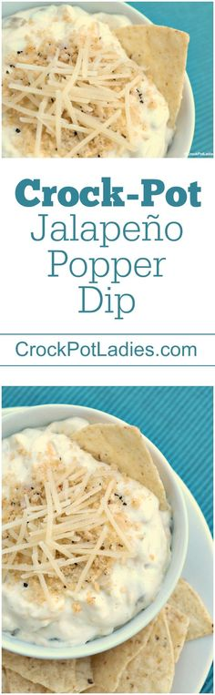 Crock-Pot Jalapeño Popper Dip - The perfect recipe for parties this easy crockpot recipe is one of the BEST recipe for cream cheese and spicy goodness. Use your small 3 quart slow cooker for this recipe or double or triple the recipe to serve a larger crowd! {Vegetarian, Gluten Free Option, Low Carb, and Low Sugar - 15 Weight Watchers SmartPoints Per Serving) via @CrockPotLadies