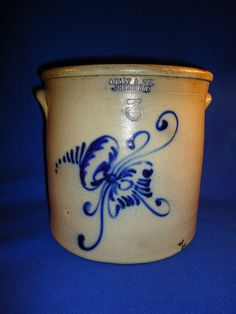 10.5in tall. C. Hart & Son, Sherburne, New York 3 Gallon Stoneware Crock with Floral