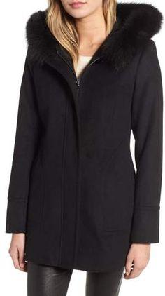 71bbdb64730 Kristen Blake Genuine Fox Fur Trim Hooded Wool Coat (Regular   Petite)