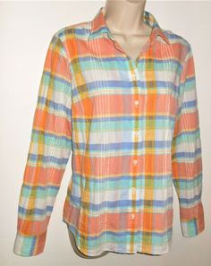 e92e6f6489c J CREW Perfect Shirt S 4 6 Plaid Seersucker Womens Pastel Blue Pink White  Easter  JCREW  Blouse