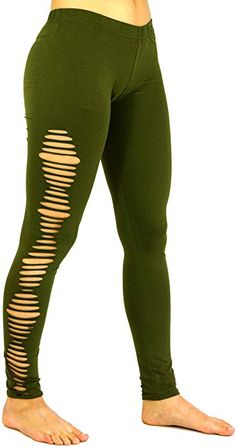 Guru-Shop Psytrance, Goa Damen Leggings Hose, Festival Yogahose, Olive, Baumwolle, Size:38, Shorts, 3/4 Hosen, Leggings Alternative Bekleidung: Amazon.de: Bekleidung