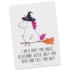 Postkarte Unicorn Hexe mit Spruch aus Karton 300 Gramm  weiß - Das Original von Mr. & Mrs. Panda.  Diese wunderschöne Postkarte aus edlem und hochwertigem 300 Gramm Papier wurde matt glänzend bedruckt und wirkt dadurch sehr edel. Natürlich ist sie auch als Geschenkkarte oder Einladungskarte problemlos zu verwenden. Jede unserer Postkarten wird von uns per hand entworfen, gefertigt, verpackt und verschickt.    Über unser Motiv Unicorn Hexe mit Spruch  Das Hexen-Einhorn ist das perfekte…