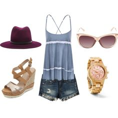A Rosy Summer by thedame on Polyvore featuring JORD wood watch.