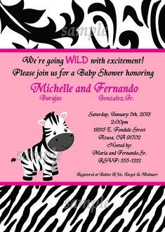 zebra baby shower, girl baby shower, zebra invite, invitation with, Baby shower invitations