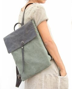15  Canvas Laptop Backpack  Canvas Rucksack  Green