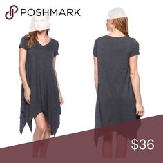 Charcoal Gray V Neck dress with Asymmetrical Hem V NECK DRESS IN HEAVY RAYON LYCRA / ASYMMETRICAL HEMMING. 95% Rayon 5% Spandex.   A belt around the waist to make it form fitting would look super cute, or just pair it with a long necklace and some stackable bracelets. Dresses Asymmetrical