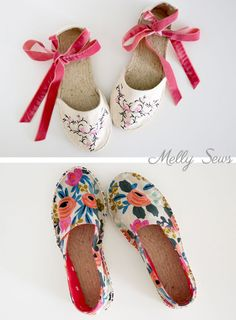 Two kinds of flat espadrilles - DIY Espadrilles - Make your own shoes - Melly Sews Make Your Own Shoes, How To Make Shoes, How To Make Clothes, Diy Clothes, Espadrille Shoes, Espadrilles, Homemade Shoes, How To Make Leather, Shoe Pattern