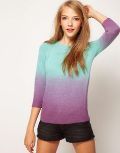 ASOS Collection Dip Dye Jumper in Angora Mix
