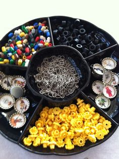 Lego party activities: Make your own necklace & decorate your own minifigure. (Use a veggie tray to keep pieces sorted !)