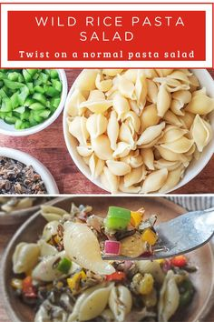 A deliciously different, easy, and bright pasta salad stuffed with hearty wild rice, fresh colorful bell peppers, zippy onion, and a creamy and bright oil & vinegar dressing. This salad keeps brilliantly and is perfect for picnics, barbecues, and packing for an easy lunch! Pasta Salad Recipes, Soup Recipes, Chicken Recipes, Dinner Recipes, Pizza Recipes, Fast Easy Dinner, Wild Rice Salad, Chicken And Wild Rice, Vinegar Dressing
