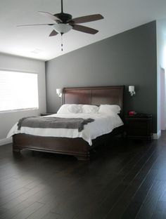 Very Popular Unique Brown Wooden Master Bed Plus Headboard With White Covering Beds And Smart Wood Floors Installation With Unique Pendant Bedroom Lights With Fan In Modern Small Attic Gray Bedroom Design Ideas