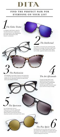 9f1c014a28 DITA GIFT GUIDE  Find the perfect pair for everyone on your list.   DITAeyewear