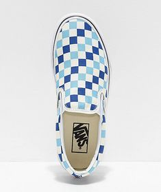 Having undergone many reinterpretations and iconic designs, Vans signature Slip-On Skate Shoes hit shelves once again this season in an all-new blue, topaz and white checkered canvas composition. Featured with a tri-toned checkered print pattern across th Vans Shoes Women, Custom Vans Shoes, Custom Slip On Vans, Ladies Shoes, Vans Sneakers, Slip On Sneakers, Cute Vans, Vans Checkered, Sneaker Store