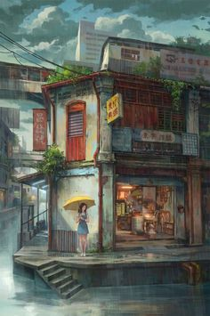 Rain.....Digital artist CHING FEI GIAP is a digital artist and illustrator based in Malaysia. He is best known for his detailed Illustrations of Asian cityscapes. He is inspired by Asia's unique culture and its people. It's a mixture of real world and fantasy. His technique is fully digital, but says imagination is the key