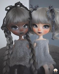 Carbon Sisters: Charcoal and Ash  OOAK Pullip sisters - Charon Dolls