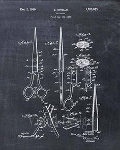 Si tratta di una stampa del brevetto disegno di brevetto forbici barbiere dal 1930. Il brevetto originale è stato ripulito e migliorato per creare un pezzo di display attraente per casa o in ufficio. Questo è un ottimo modo per mettere i tuoi interessi e hobby sul display. Splendida idea