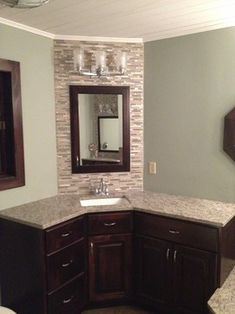 Corner Bathroom Vanity Cabinet With Integrated Marble Sink Using - Corner mirror for bathroom for bathroom decor ideas