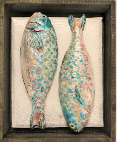 Fish Market Box - Parrot fish || Raku fired with lustres, displayed in a handmade wood box distressed and lime waxed || Designed to give autheticity of market stalls of old || Made for wall placement || Exhibited in Liberty, London || Price On Enquiry || #CERAMICS #ART #FISH