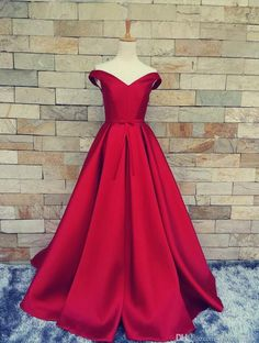 2017 New Real Image Red Evening Dresses Off Shoulders Corset Back  with Bow Belt Party Pageant Gowns