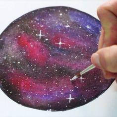 How to paint a Watercolor galaxy, video tutorial by @thealohastudios, www.thealohastudios.com