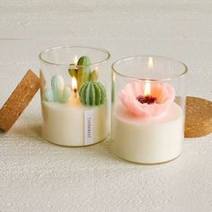 Cactus Candles, Cute Candles, Mini Candles, Soy Candles, Beeswax Candles, Beautiful Candles, Diy Candles With Flowers, Yankee Candles, Small Candles