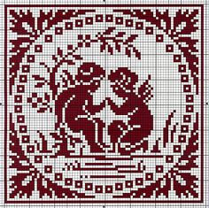 Four Antique French Charts for Filet Lace or Cross Stitch featuring Cherubs.
