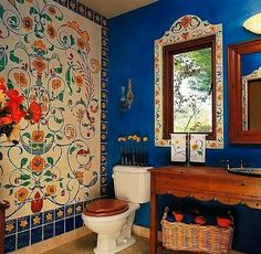 Arriba!  Mexican styled bathroom idea #bathroom #Talavera #handmade #Mexican explore MexicanConnexionforTile.com